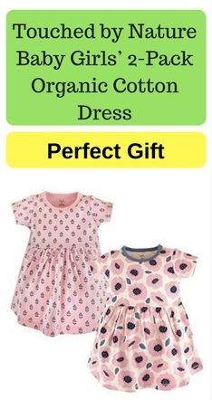 Touched By Nature Baby Girls 2 Pack Organic Cotton Dress Organic
