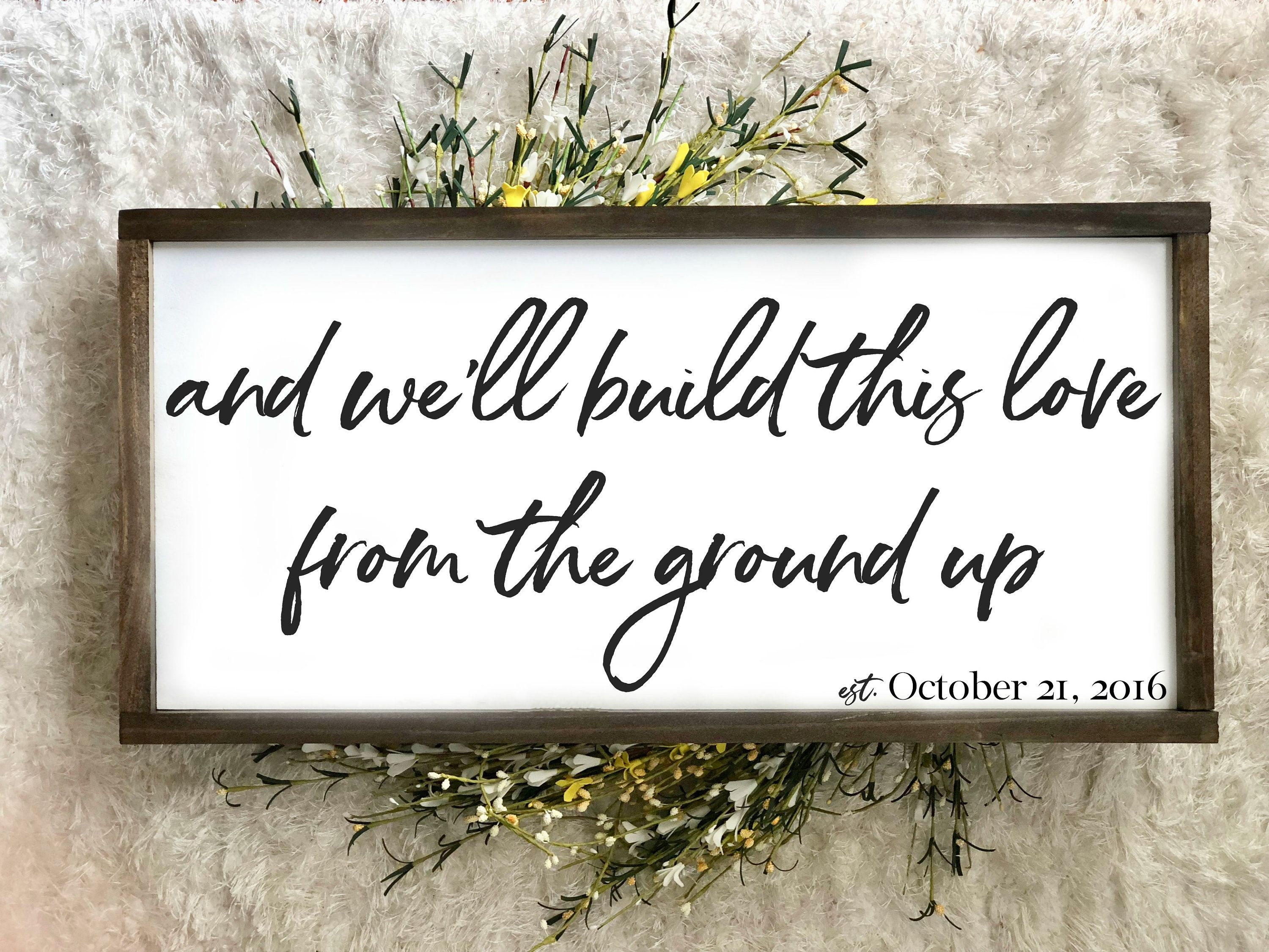 From The Ground Up  Large Framed Wood Sign  Farmhouse Decor | Etsy