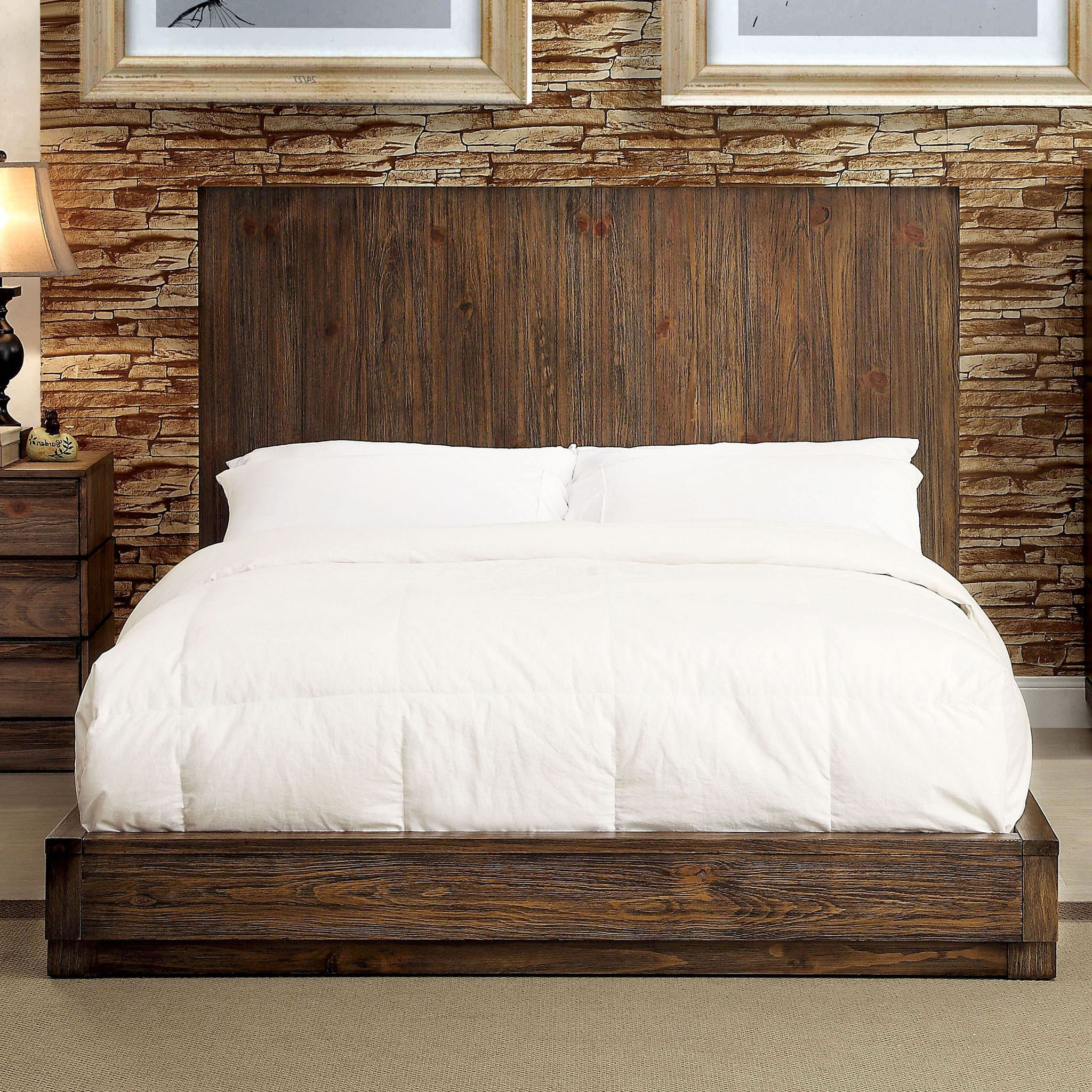 Transitional Style Low profile bed Distressed wood