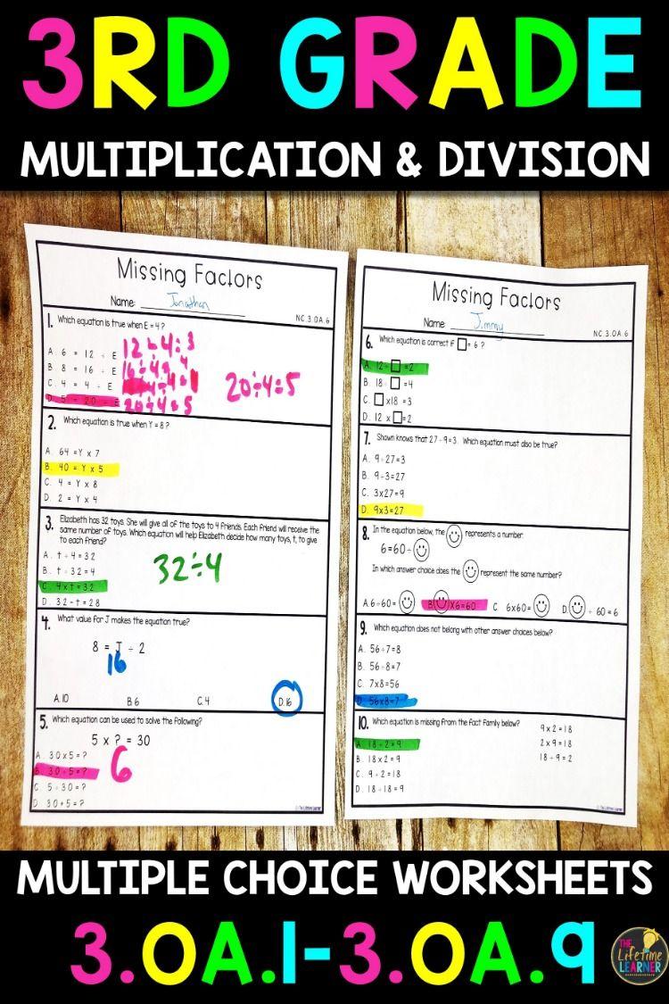 Multiplication and Division Worksheets | 3rd Grade Math ...