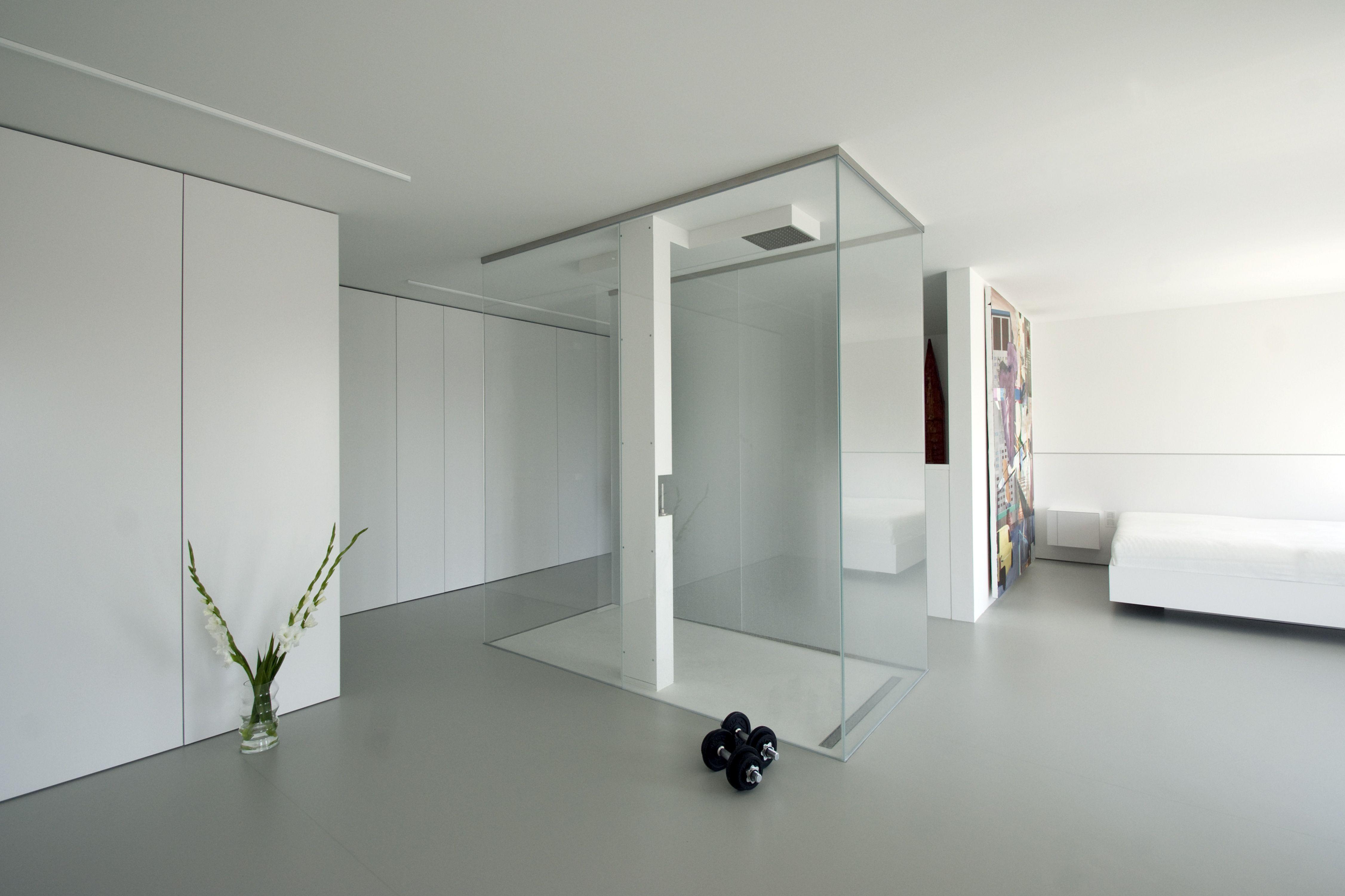 Wohnbereich, Dusche, Einbauschränke, Schlafzimmer, weiß lackierte ...