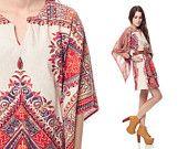 70s Dashiki Dress BELL SLEEVE Mini Ethnic Cotton Tunic Caftan 1970s Hippie Boho Red Beige Print Bohemian Vintage Dress Medium Extra Large