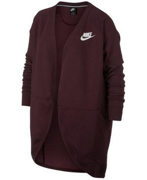 b1a77a02250c7 Nike Plus Size Sportswear Rally Fleece Open Cardigan - Black 1X ...