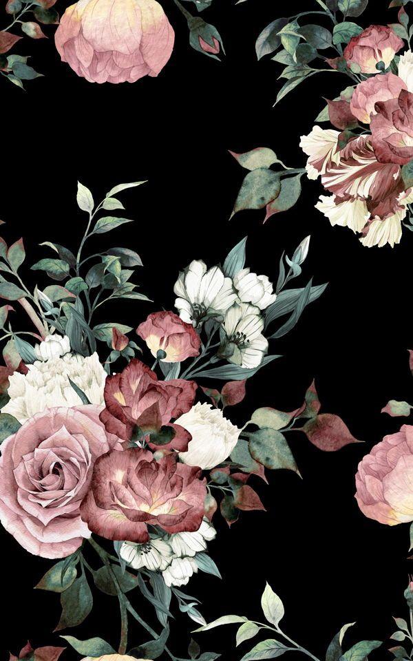 Vintage Pink & Cream Dark Floral Wallpaper Mural | Hovia