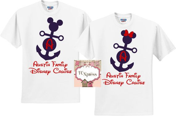 Personalized Family Disney Cruise Shirts  Are you looking for the perfect shirt to wear while taking your cruise?  Featured is a Family Set of Personalized Disney Cruise Shirts.  These shirts are sold individually so you can add as many shirts needed for your set!  Please add each shirt to your cart individually. This listing is NOT for a set of shirts. Please choose the color of shirt with either the Mickey or Minnie from the dropdown. ***Please note the Blue Stripe is a Ladies Racer ONLY…