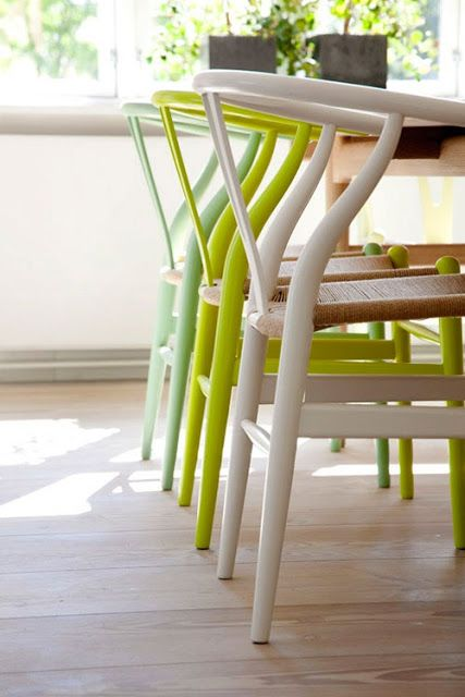 Brightened up dining room chairs - Mint strikes again!