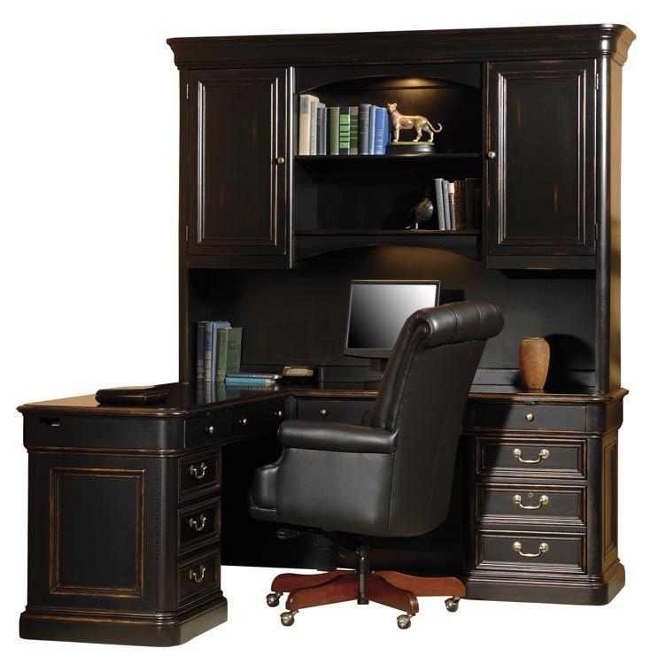 solid wood l shaped desk with hutch by hekman furniture desks rh pinterest com