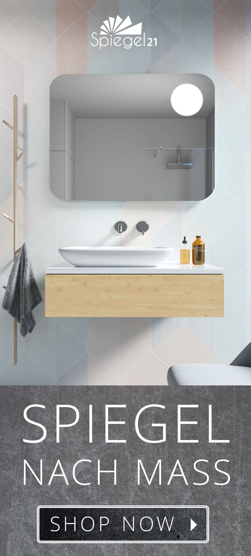 Bad Spiegel Mit Runden Ecken Led Strahler Kaufen Spiegel21 Badezimmer Einrichtung Wc Spiegel Spiegel Mit Beleuchtung