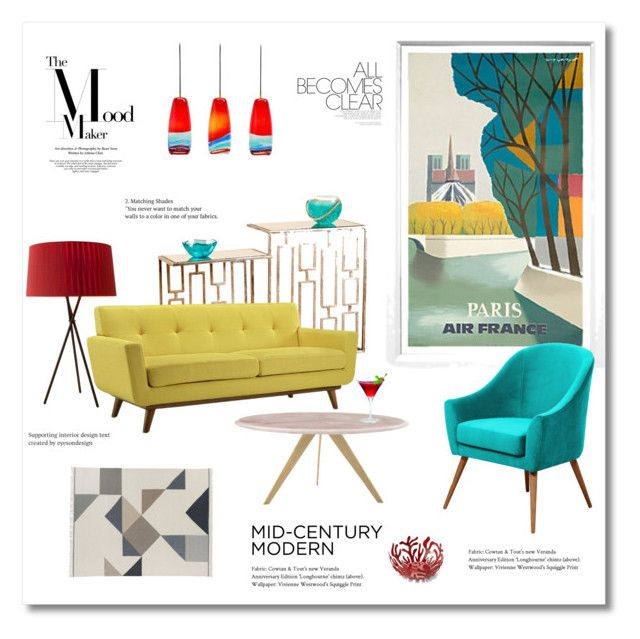 """""""Mid Century brights"""" by magnolialily-prints ❤ liked on Polyvore featuring interior, interiors, interior design, home, home decor, interior decorating, William Stafford, Venini, Santa & Cole and Design Within Reach"""