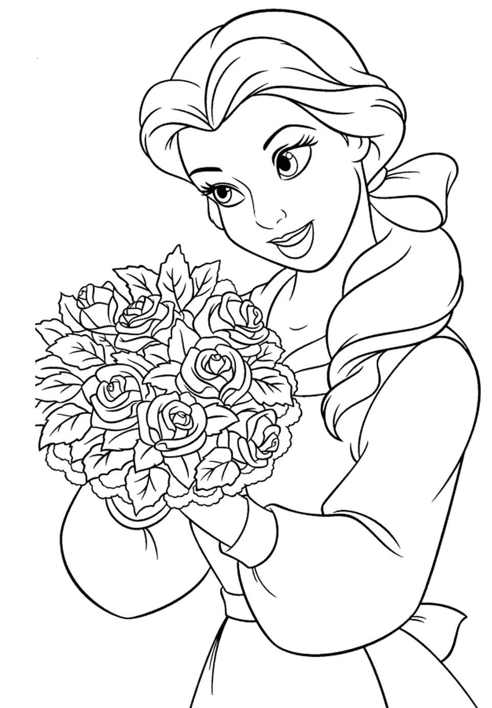 Princess Belle Carry Flowers Coloring Pages  PrincessGlitter