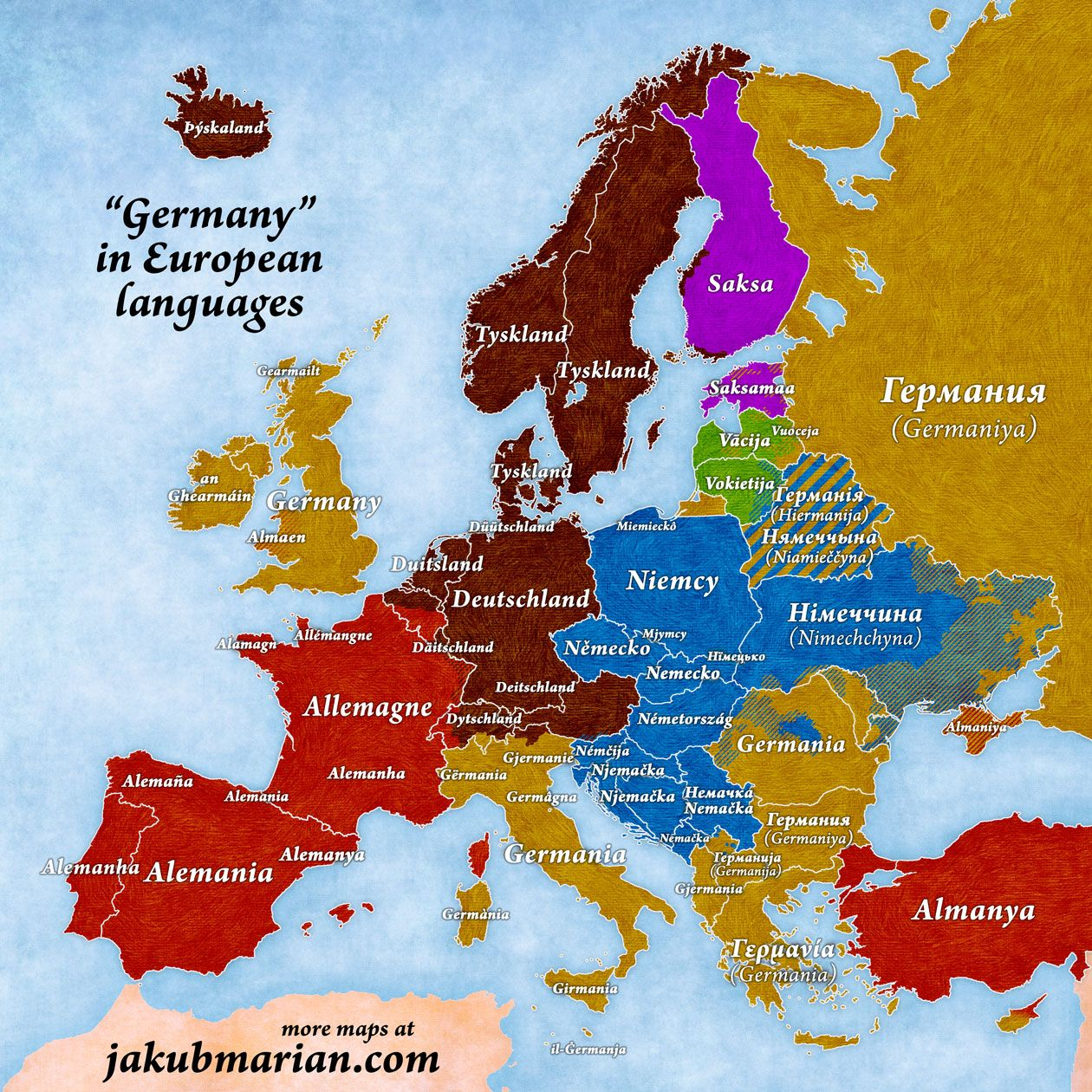 German Map Of Europe Germany in European Languages (With images) | European map