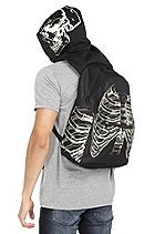 Black Glow-In-The-Dark  Skull & Ribcage Hooded Backpack