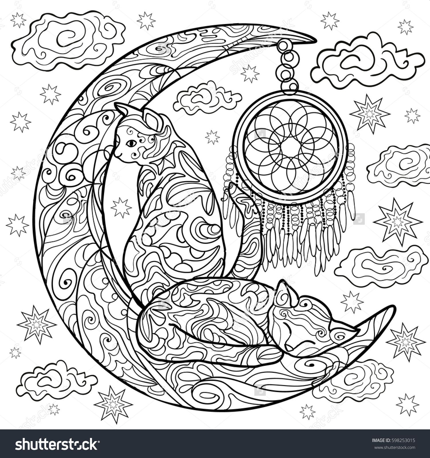 Beautiful Kittens Vector Illustration Cat Sleeps On The Moon Doodle Coloring Book For Adults Coloriage Chat Coloriage Mandala Animaux Coloriage Zen Animaux