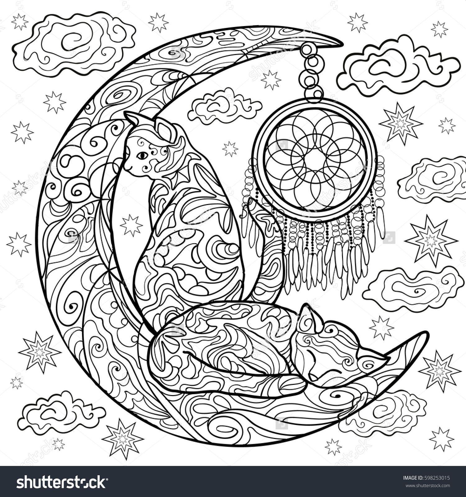Beautiful kittens. Vector illustration. Cat sleeps on the
