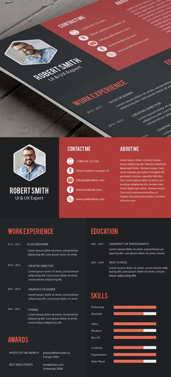 Creative Professional Resume Template Free PSD | Free PSD Files ...