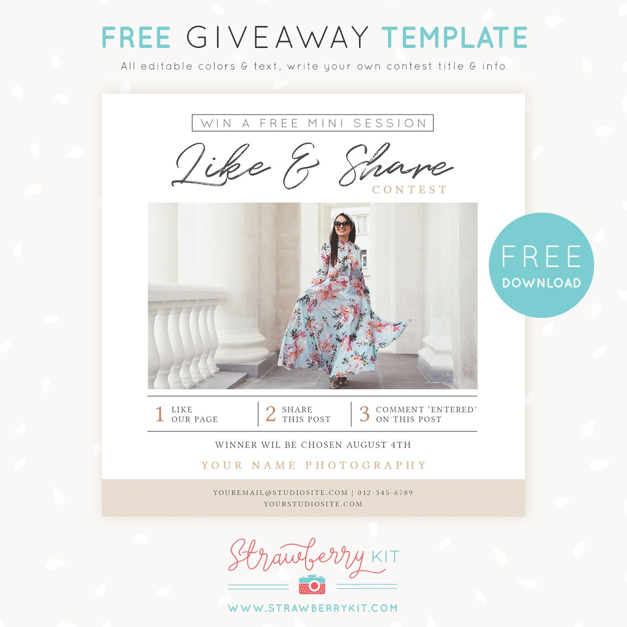 Free Photography Marketing Template Giveaway Share Win Photography Marketing Templates Free Photography Templates Photography Pricing Template
