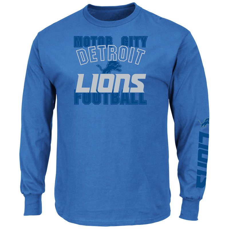 save off 7b121 c819e Detroit Lions Majestic Primary Receiver Slogan Long Sleeve T ...