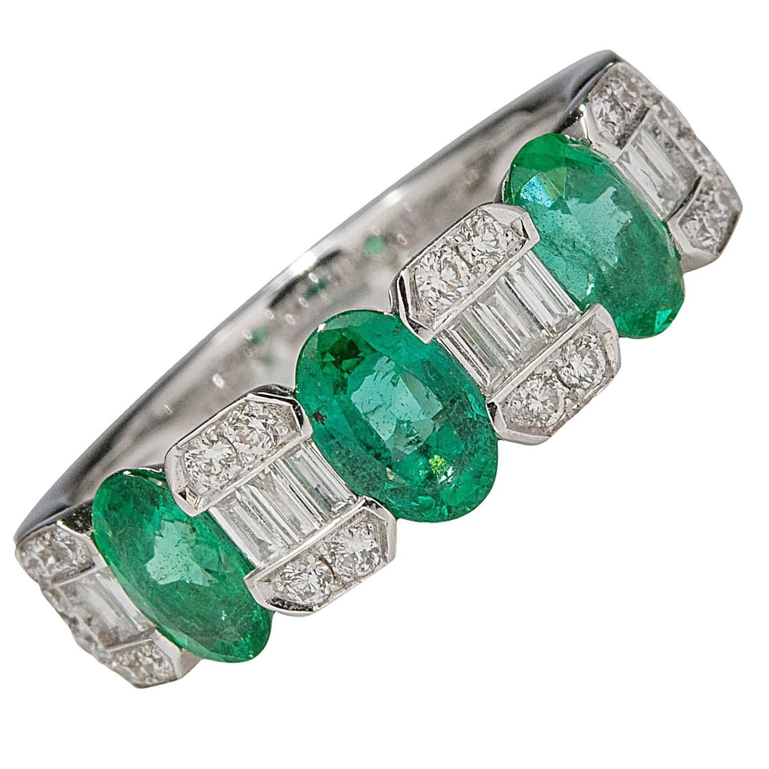 emerald gold crown band cut eternity exquisite diamond bands ring white products