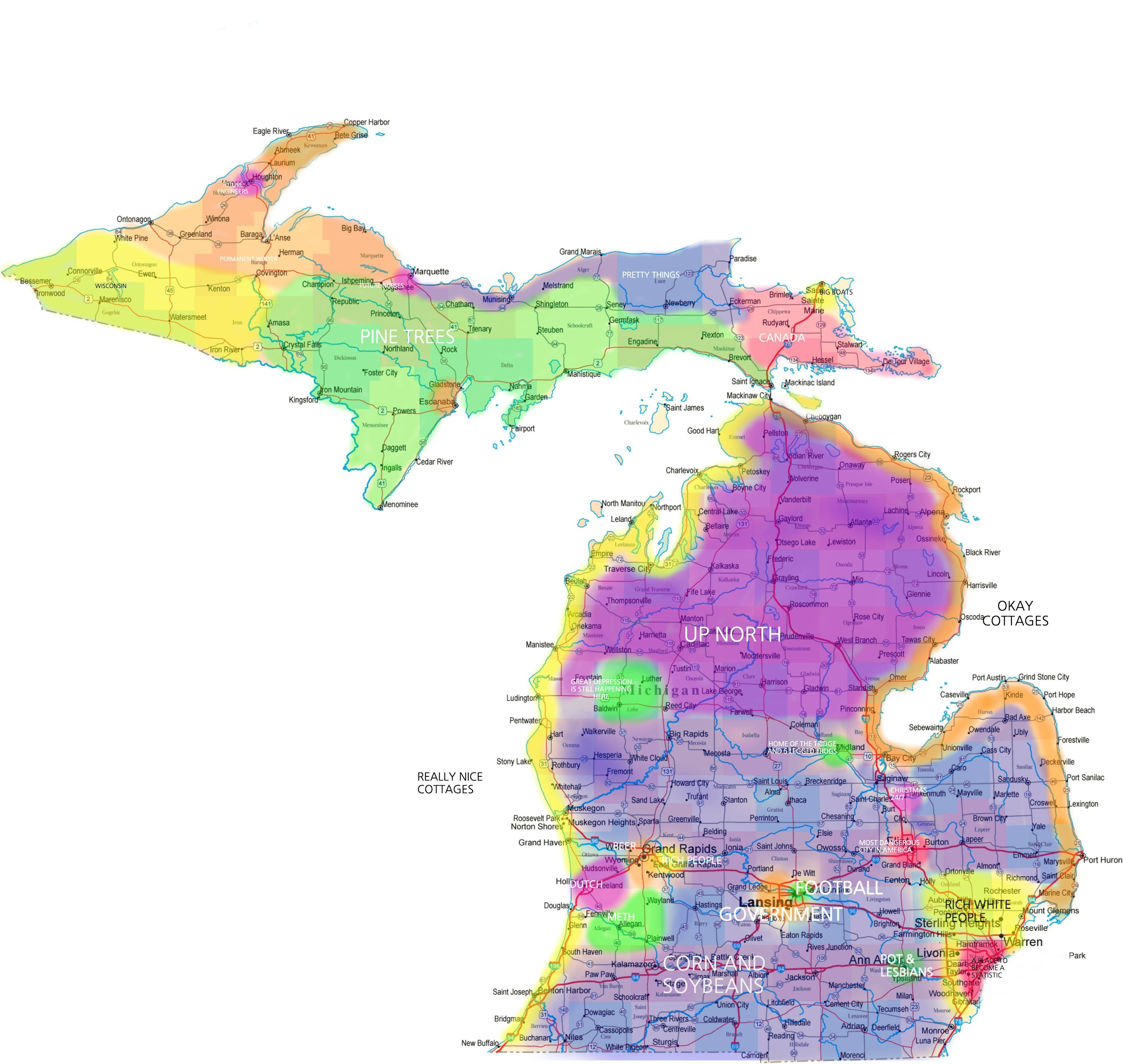 Marysville Michigan Map.Stereotype Map Of Michigan Lol Pinterest Michigan Map Of
