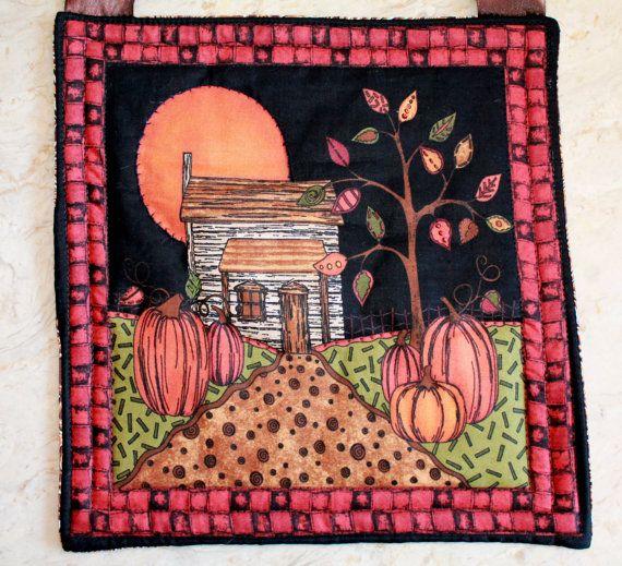 Halloween Wallhanging Quilt // Harvest Moon by PepitasStudio