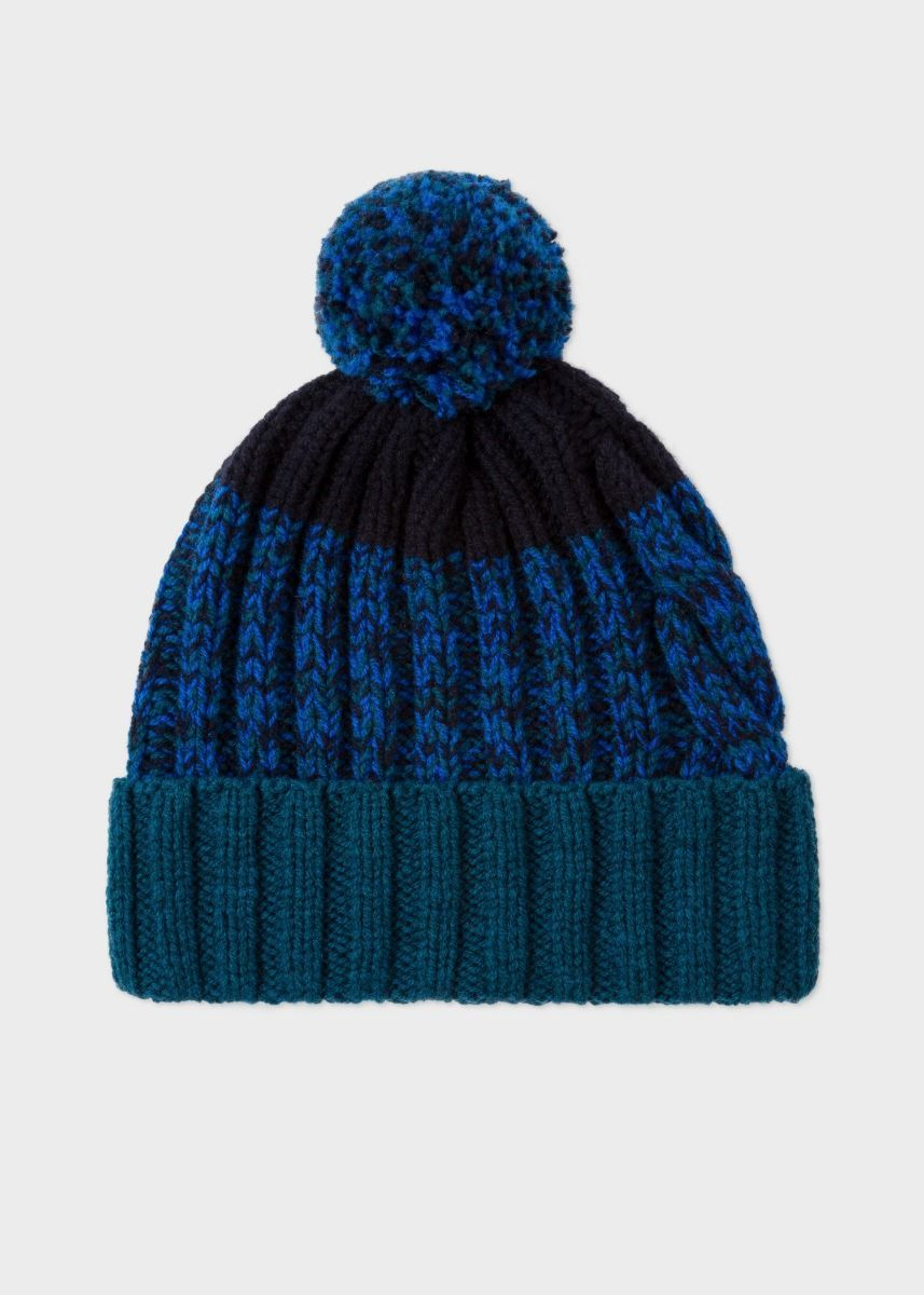 Mens Chunky Knit Bobble Hat - BLUE Lands End ShIul