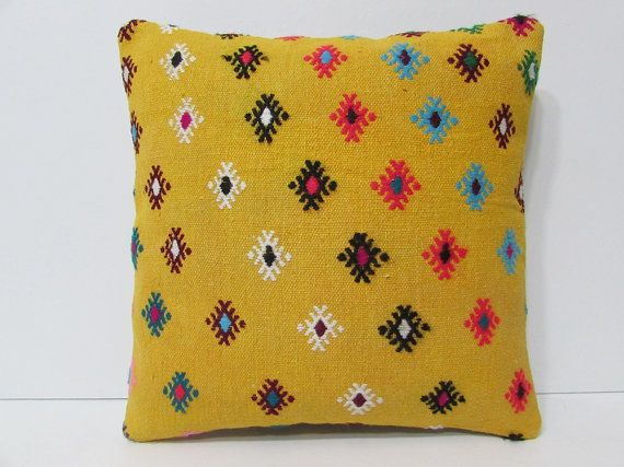 gold decorative pillow 16x16 yellow throw by DECOLICKILIMPILLOWS
