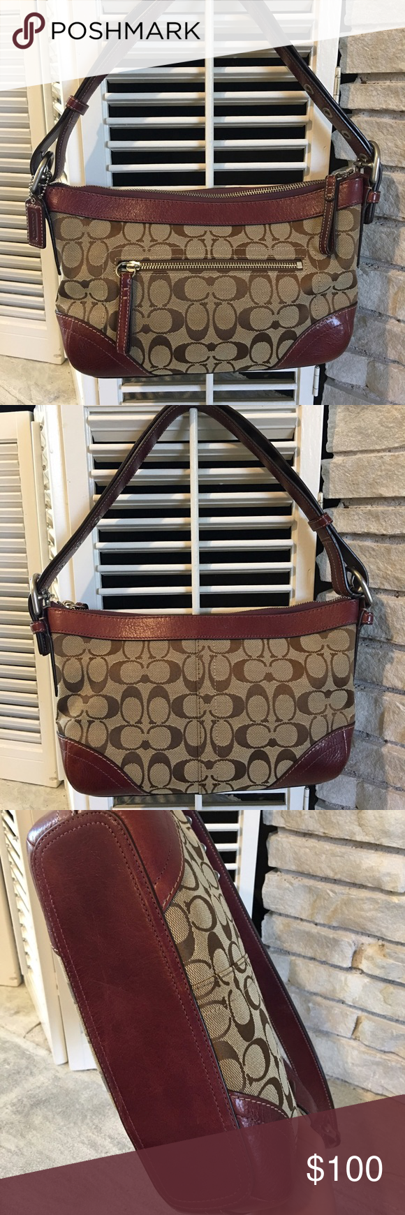 Authentic Coach shoulder bag. This brown and merlot-colored bag is perfect for fall! Almost brand new with no scuffs, no stains. Coach Bags Shoulder Bags