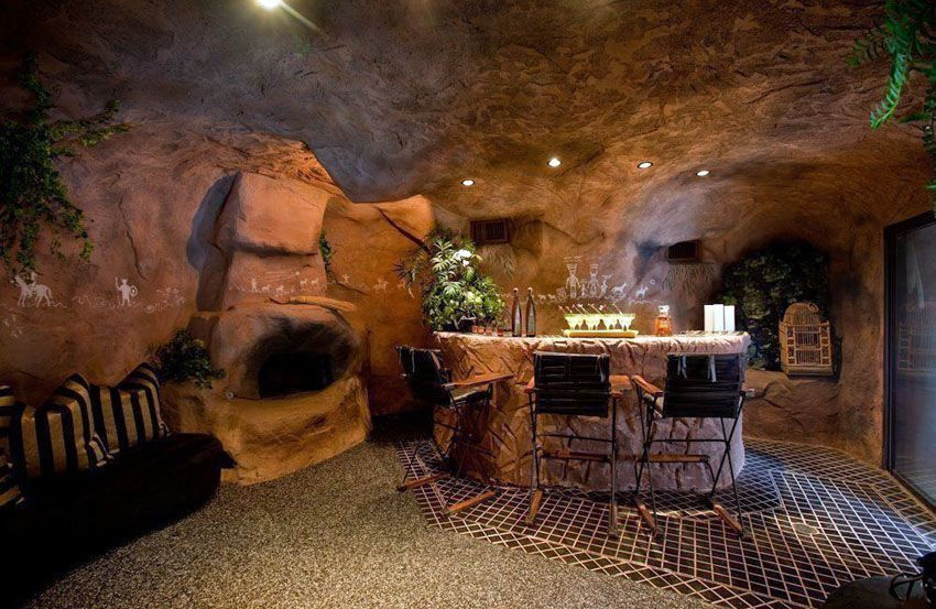 Custom Man Cave With Rock Walls And Home Bar Man Cave Design Man Cave Furniture Ultimate Man Cave