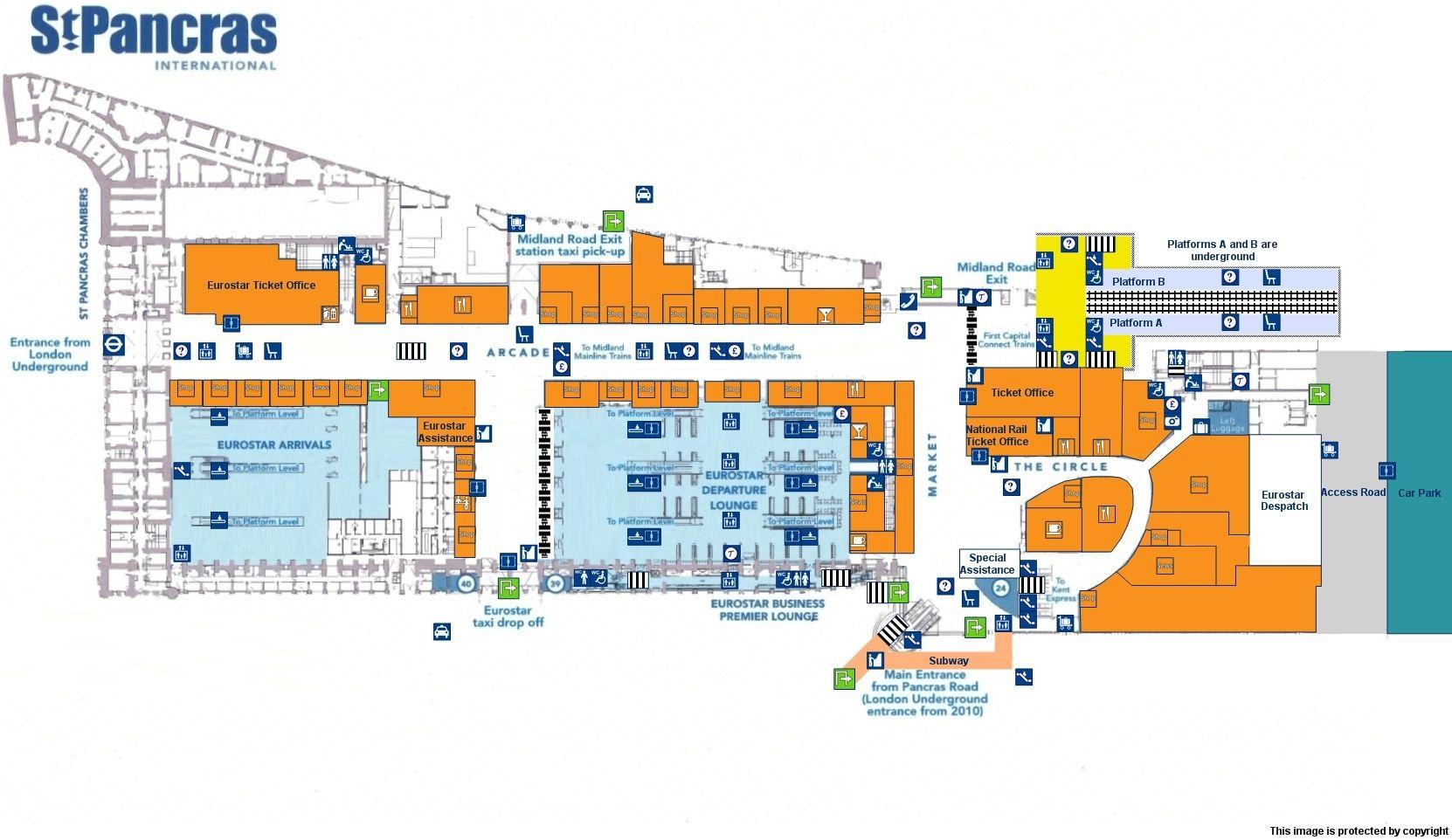 st pancras london map Map Of London St Pancras International Station National Rail Uk