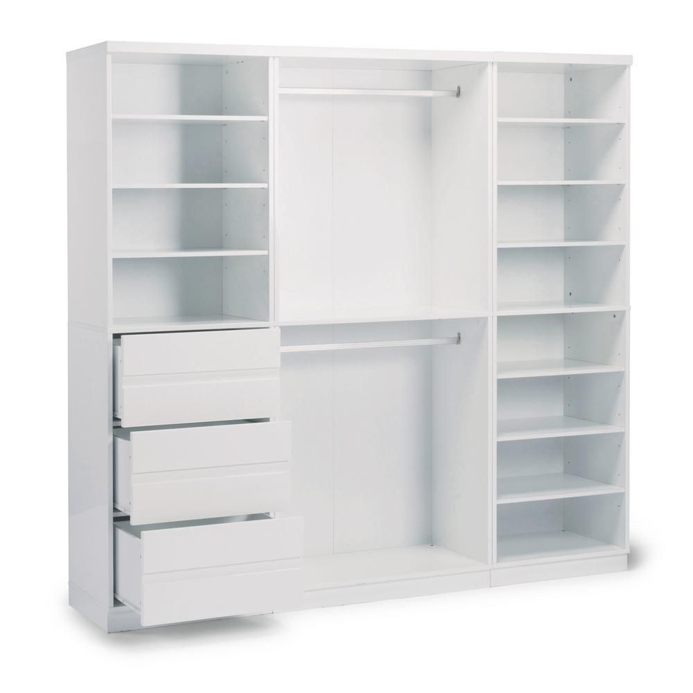 Homestyles Linear 3 Drawer White Storage Wall Unit 3 Piece In