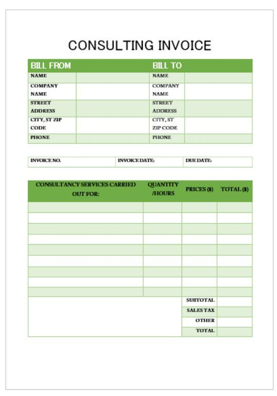Proffessional Services Invoice Template Consulting Invoice