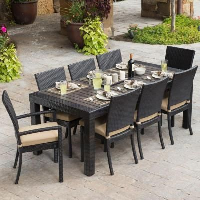 Rst Outdoor Deco 9 Piece Patio Dining Set With Delano Beige