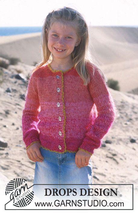 Drops Girl S Cardigan In Muskat And Vivaldi Drops Design Knitting Girls Drops Design Kids Knitting Patterns