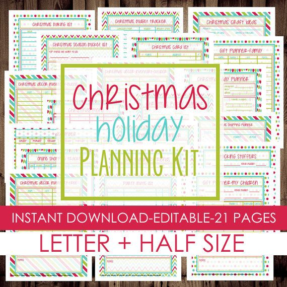 Christmas Planner Holiday Planner Printable Christmas Planner Kit Letter Size Half Size Included 21 Pages Instant Holiday Planner Party Planning Printable Christmas Planning