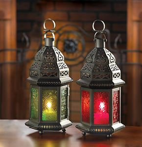 2 Lanterns 1 Red And 1 Green Glass Moroccan Style Candle Lamps New Hanging Candle Lanterns Candle Lanterns Moroccan Lamp