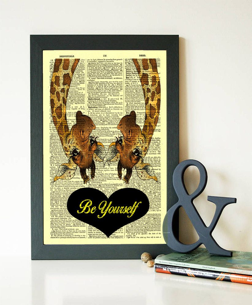 Couple Giraffe Quote Print Be Yourself Buy 1 Get 1 FREE Nursery ...