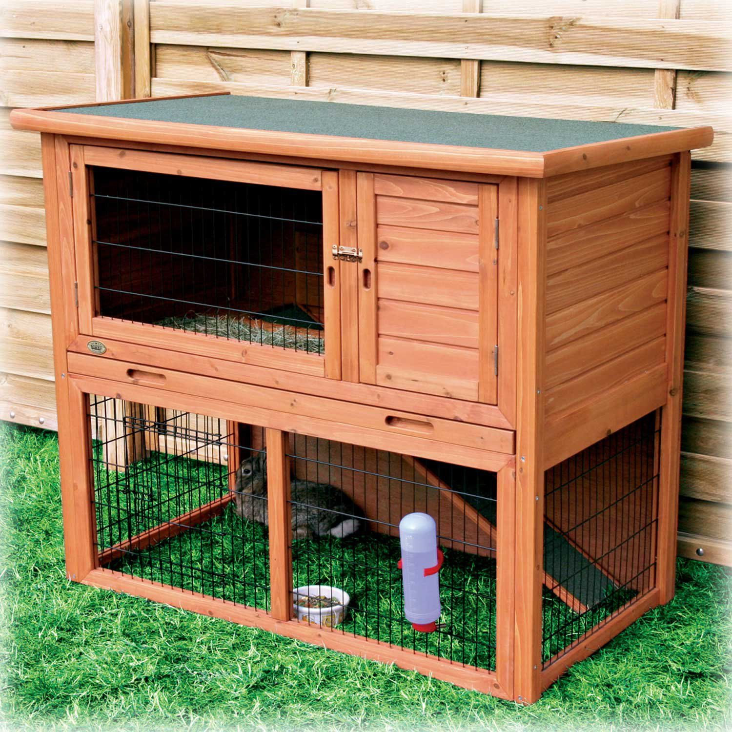 Trixie Natura Rabbit Hutch with Sloped Roof-Cage-Trixie-Medium-Natural-Pet  Crates Direct