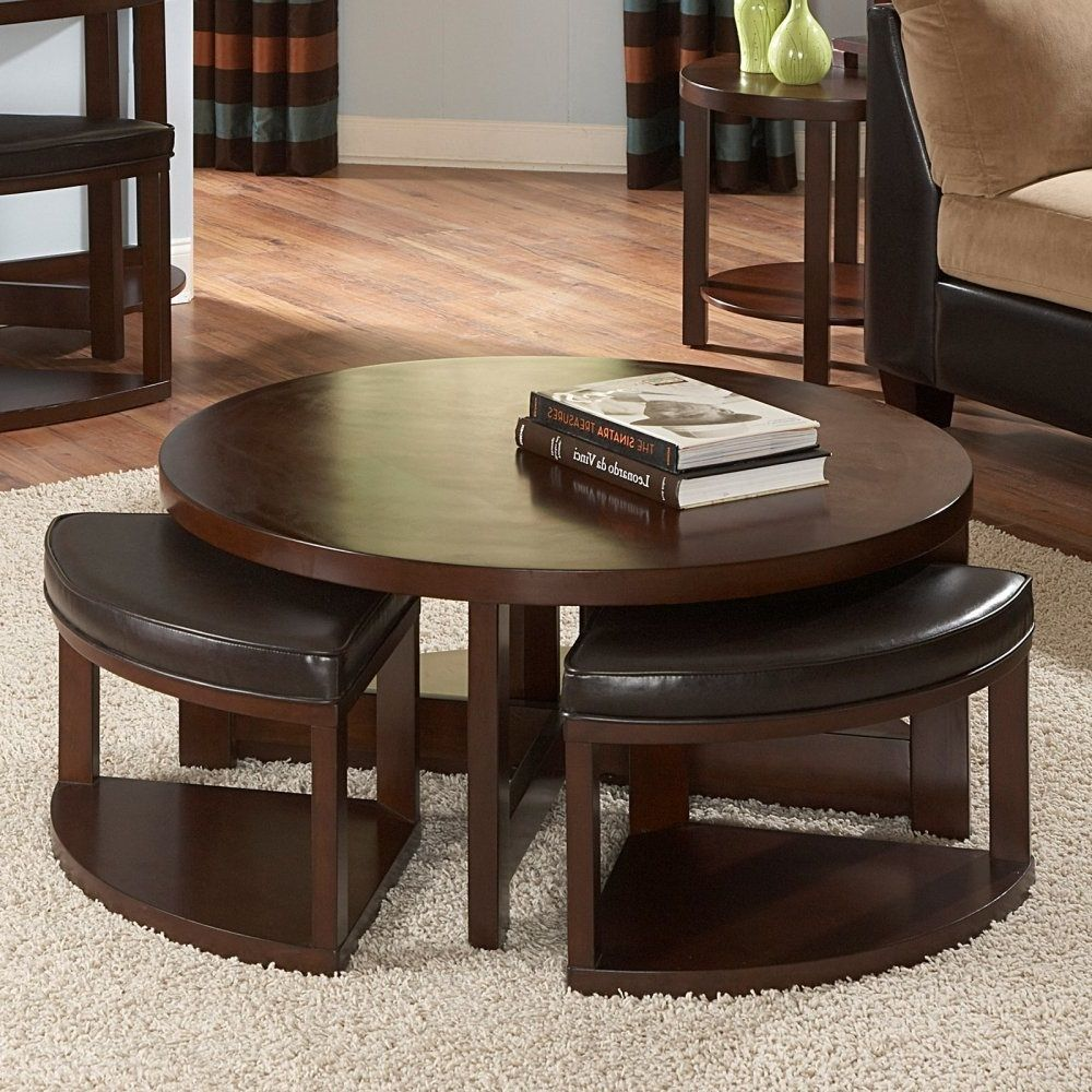 Round Coffee Table With 4 Ottomans Earthy Living Room Coffee