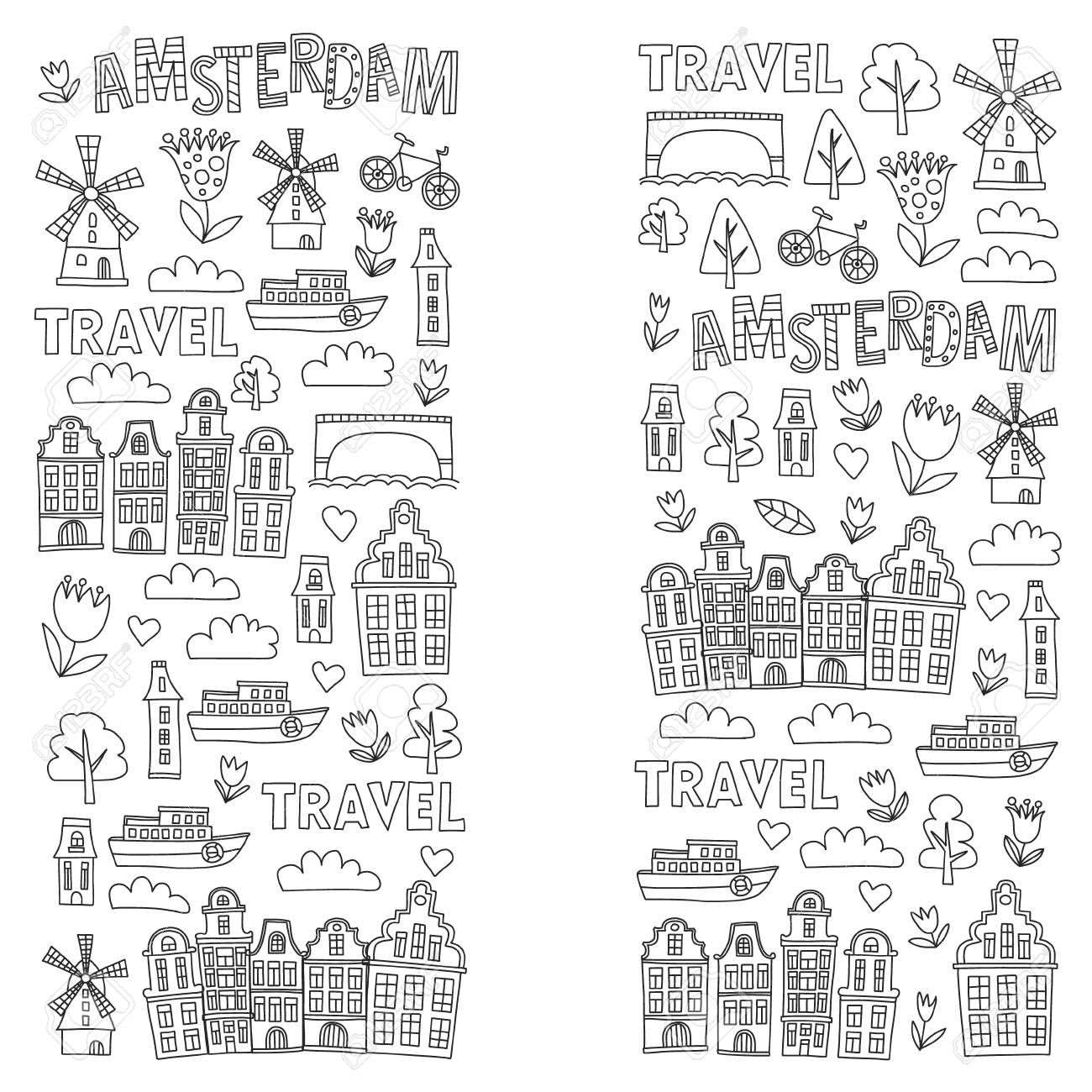Vector Pattern With Holland Netherlands Amsterdam Icons Doodle Royalty Free Cliparts Vectors And Bullet Journal Travel Travel Art Journal Vector Pattern