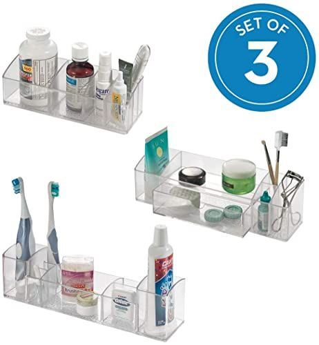 New iDesign Med+ Plastic Bathroom Medicine Cabinet Organizers  Toothbrushes, Contact Lenses, Medical, Cosmetics, Makeup Brushes, Craft Supplies, Set  3 Unique Pieces, Combo Pack online - Findamazingstar #cabinetorganizers