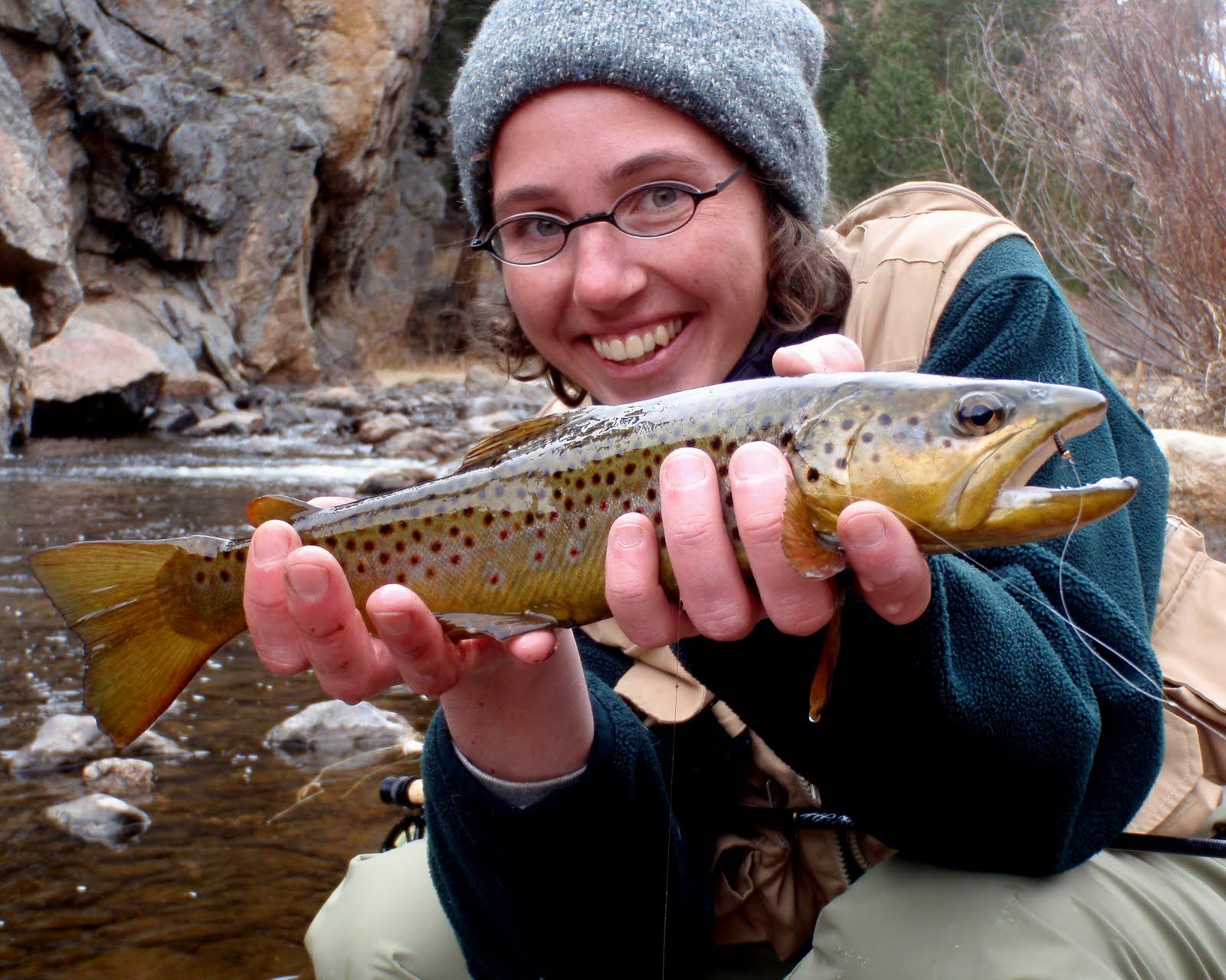Beautiful catch!!! Wild brown trout from a stream  | Finishing girls
