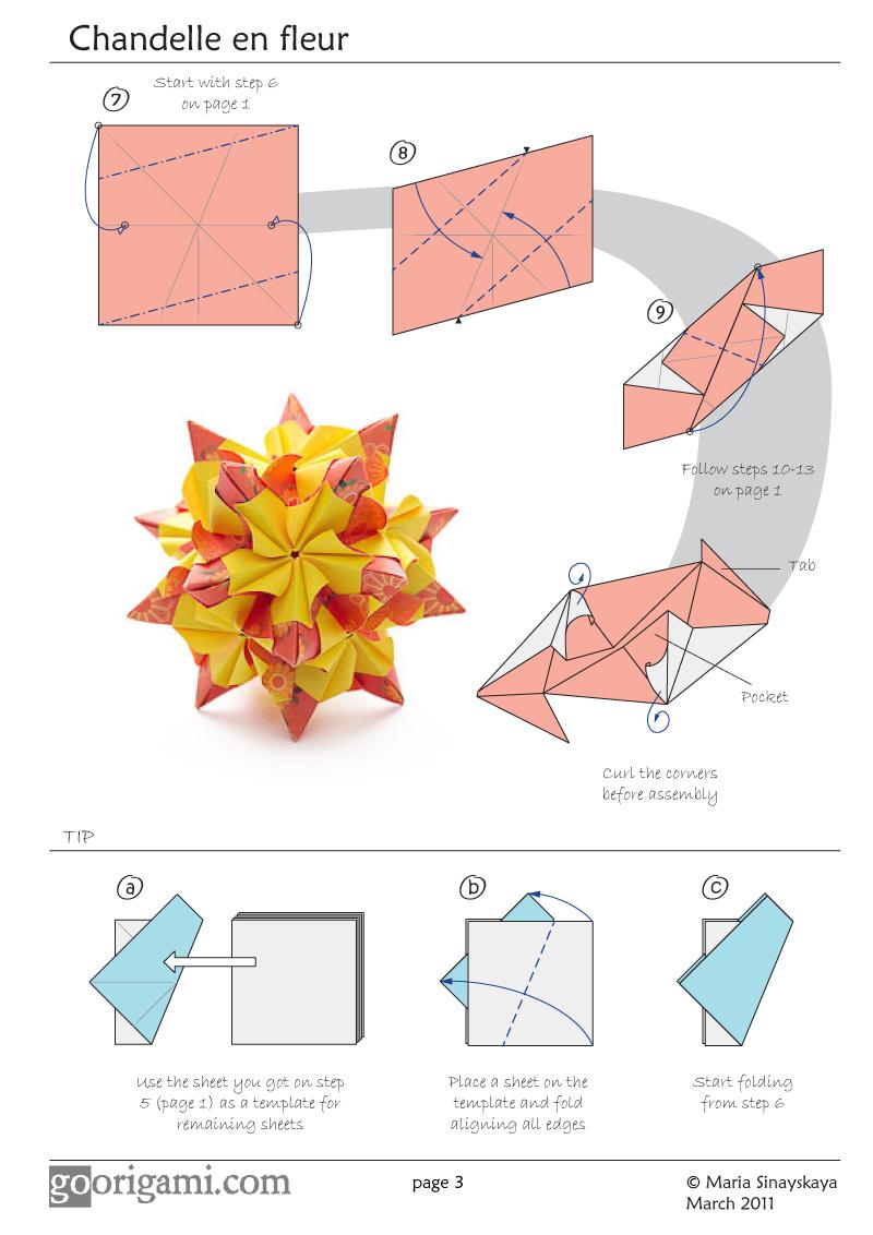 chandelle en fleur kusudama diagram rh pinterest com Unit Origami Diagrams Unit Origami Diagrams
