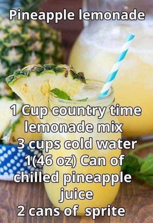 Pineapple lemonade 1c. COUNTRY TIME Lemonade 3c. Cold Water 46 oz can Pineapple Juice, Chilled 2 cans of Sprite #lemonadepunch
