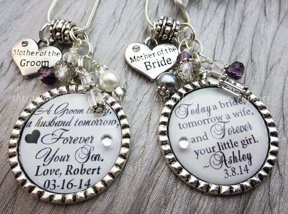 Mother of the Bride Necklace and Groom Double Gift Set, Gift for Both Mothers, Personalized Key Chains or Necklaces, Mother of Bride Jewelry... set of 2 $36