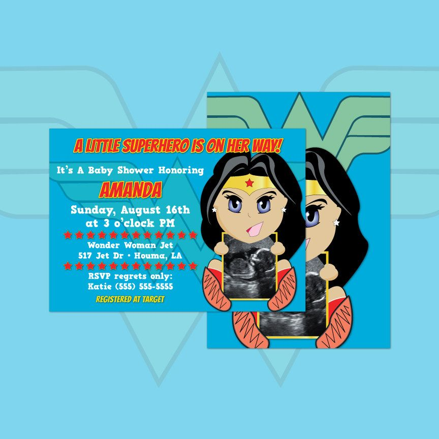 Wonder Woman Ultrasound Baby Shower Invitations Girl DIY Cards ...