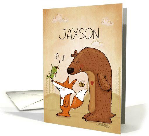 Customizable Name Happy Birthday Jaxson-Fox Bear Bird And