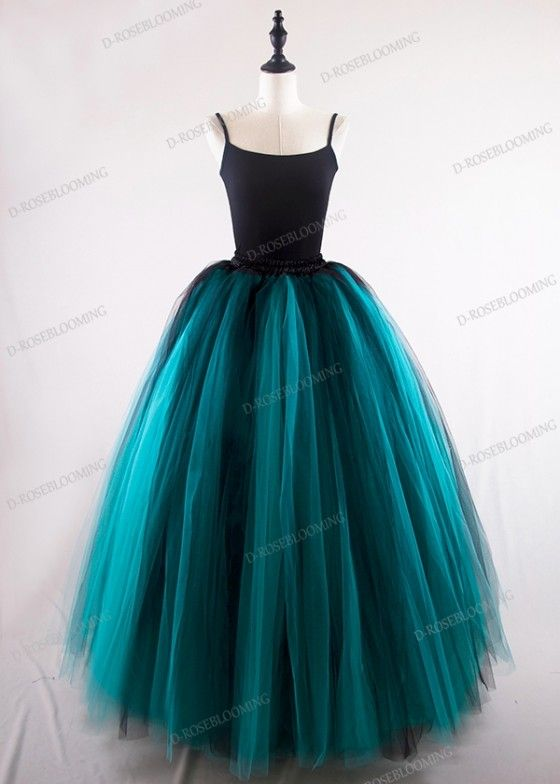 a6d9162ee3 Black Teal Green Gothic Tulle Skirt D1S005 in 2019   Fashion ...