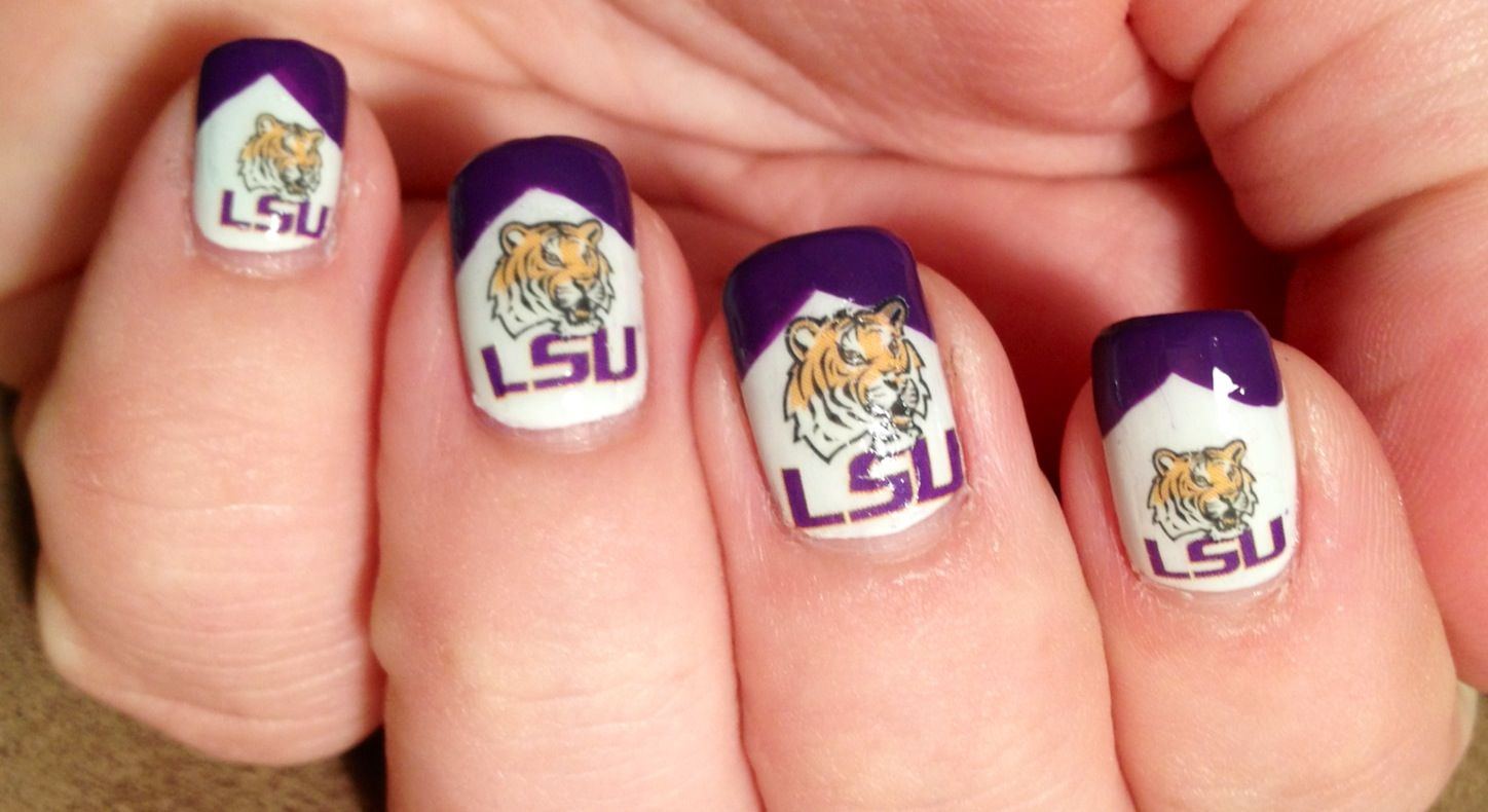 LSU Nail Art using nail tattoos! | One Love=Nails | Pinterest | Nail ...
