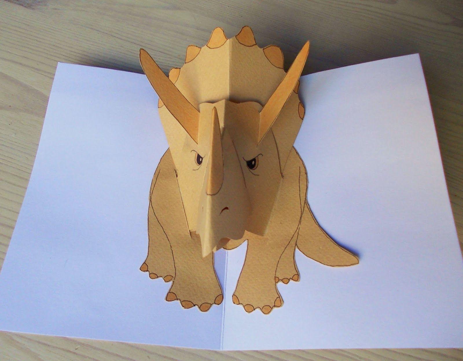 Dinosauruskortti Pop Up Card Templates Dinosaur Cards Pop Up Art