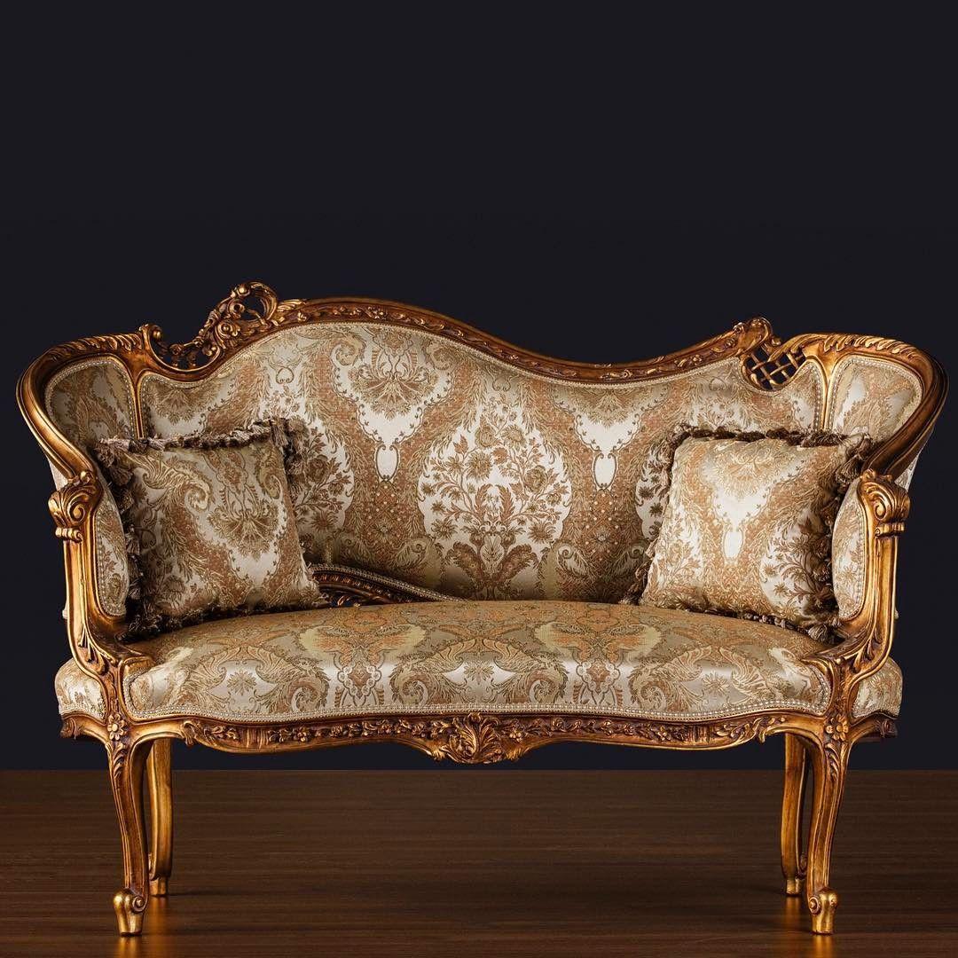 Altin Varakli Koltuk Ahsap El Oymasi Genisli Furniture Chaise Lounge Chaise